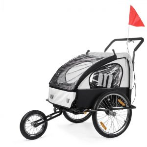 SAMAX Remorque Vélo convertible Jogger 2en1 Pour 2 Enfants Amortisseur Transport Poussette en Blanc/Noir - Black Frame