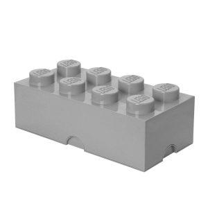 Brique de rangement LEGO 8 plots, Boîte de rangement empilable, 12 l, gris